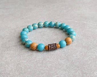 Turquoise Magnesite Bracelet with Brown Jasper - Energy Bracelet - Wrist Mala - Yoga Bracelet - Item 359