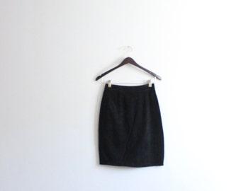 Minimal Black Suede Mini Skirt