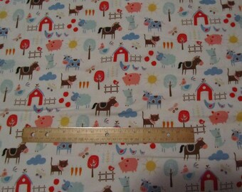 White Farm Animal/Sheep/Cow/Pig/Horse/Barn/Fence Flannel Fabric  by the Yard