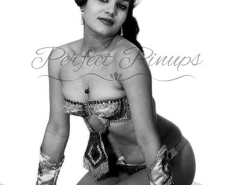 1960s FRENCH Pin Up - Woman Sequined Bikini, Antique Home Decor, Vintage Photograph, Wall Art, Risque Postcard Photography, Pinup, Paris