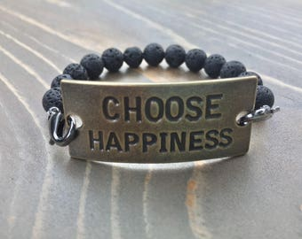 Choose Happiness Lava Stone Essential Oil Diffuser Bracelet, Aromatherapy Jewelry, Inspiration Charm Bracelet