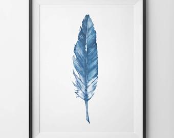Navy Watercolor Feather, Navy Watercolor Print, Watercolor Feather Print, Feather Wall Art, Watercolor Feather Art, Feather Printable, Navy