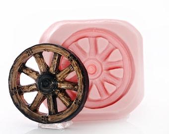 Silicone Wagon Wheel Mold Flexible Food Safe Western Wagon Wheel Mould - Fondant, Candy, Craft, Resin, Polymer Clay Mold (962)