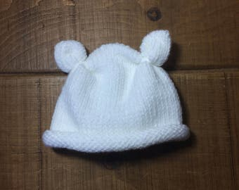 Baby hat with ears - WHITE