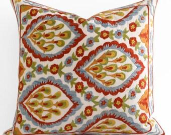 SALE! Handmade Silk Embroidery Suzani pillow, blue mustard red yellow beige suzani pillow, suzani bedding, suzani pillows, designer pillow