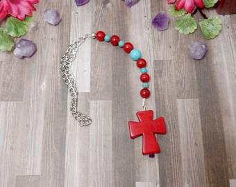 Red Cross Rear View Mirror Charm - Cross Car Charm - Red Car Charm - Car Accessories - Car Ornament
