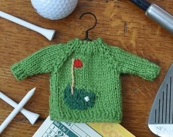 Golf Hole Hand-Knit Sweater Ornament  Golfer Ornament