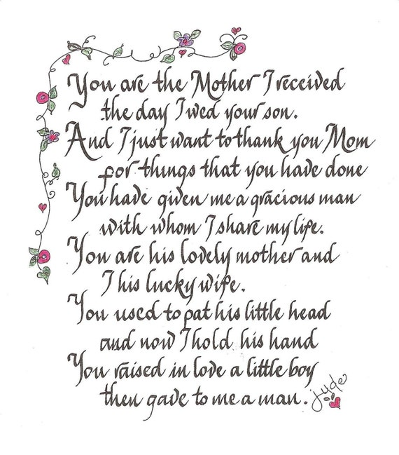 Items Similar To Handscribed Calligraphy Loving Poem For