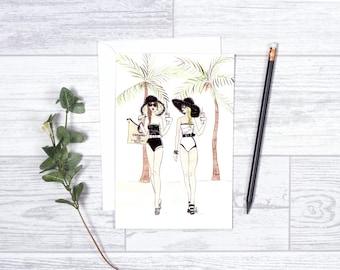 "Good Morning Monaco - Note Card- 4""x6"" - Individual Greeting Card - Tropical - Besties - Chanelbathingsuit - Best Friends-Beach Babes"