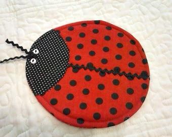 Ladybug Mug Rug - Mug Rug - Ladybug Coaster - Coasters