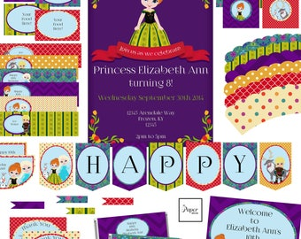Ice Princess-Birthday-Printable Party Set-DIY Printable-Instant Download-Editable Files-Banner-Labels-Tags-Toppers-Sign