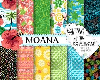 moana digital paper moana paper pack Moana digital papers moana party printable moana digital scrapbooking paper moana digital paper