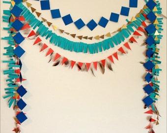 Guirlande en papier géométrique tribal ensemble - papier toile de fond, Cowboys et Indiens, parti au Pow-Wow, Shower de bébé. Guirlande d'anniversaire. Photo Prop