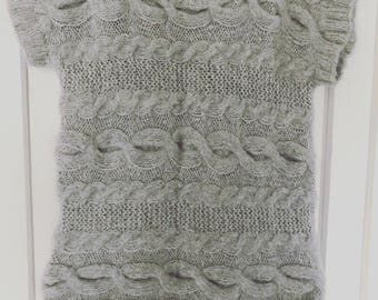 Soft alpaca oversized grey knitted tank top