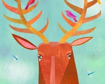 Forest Adventure Deer, Canvas Art Print, Woodland Illustration