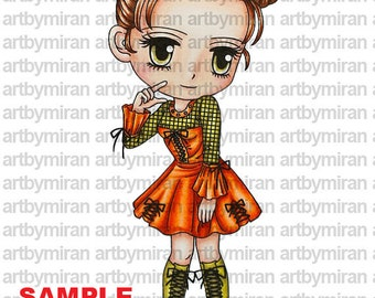 Digital Stamp - Punkie Pattie(#128), Digi Stamp, Coloring page, Printable Line art for Card and Craft Supply