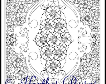 Coloring Page/Flowers and Swirls/Adult Coloring/Colouring Page/Flower Coloring