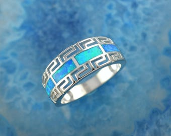 greek key blue opal silver ring, opal ring, greek ring, blue opal, greek jewelry, greek key ring, blue opal ring, opal, silver ring, meander