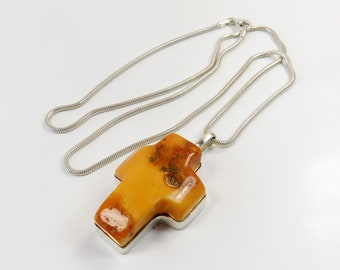 Huge 17.53 grams Antique Vintage Yellow Egg Yolk Natural Genuine BALTIC AMBER Cross Pendant on 925 Sterling Silver chain