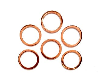 6 Rose Gold Plated Closed Rings - 9-3-2A