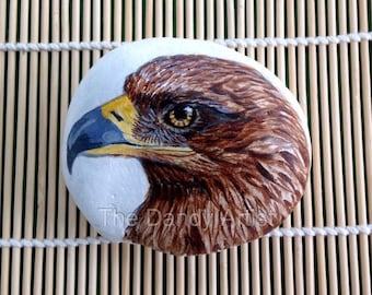 Golden Eagle Pebble Art, ready to ship.