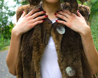 Vintage Brown Fur Vest