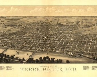 Terre Haute, Indiana - Panoramic Map (Art Prints available in multiple sizes)