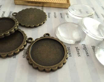 Wholesale 100 Pieces /Lot Antique Bronze Plated 20mm cabochon blanks trays charms