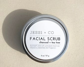 Charcoal + Tea Tree Facial Scrub - 2 oz - sugar scrub, activated charcoal, tea tree, face scrub, acne