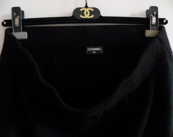 CHANEL Black Cashmere Skirt ~ Authentic CHANEL