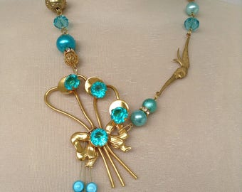 Turquoise and gold pin necklace