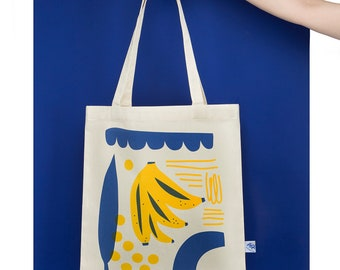 Banana Tote Bag with fruity illustration for zero waste shopping, 100% natural cotton