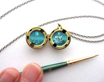 Tiny Secret Painting - Free Shipping on Water-Marked Brass Lockets - Ghost Ship Sailing Under the Moon