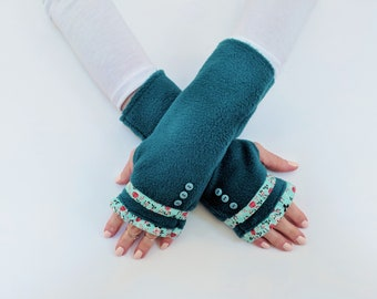 Womens Gift, Mothers Day Gift for Her, Teal Green Arm Warmers with Floral Ruffle, Unique Fingerless Gloves, Fingerless Mittens with Buttons