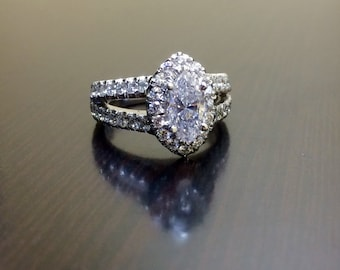14K White Gold Marquise Diamond Engagement Ring - 14K Gold Halo Diamond Wedding Ring - Halo Marquise Diamond Ring - 14K Halo Diamond Ring