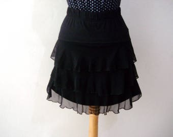Black Mini Skirt Women's Skater Skirt, Black Ruffle Skirt , Layered Ruffles Black Skirt