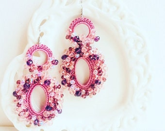 Earrings - Maxi Earrings - Antique Pink Earrings - Divina Earrings