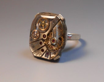 Steampunk Watch Part Ring Upcycled Genuine Watch Part Sterling Silver Ring Ladies Wrist Watch