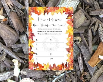 How old is the bride, Wedding bridal shower game, shower game cards, October, Autumn Fall Maple leaves, Fall wedding, INSTANT DOWNLOAD