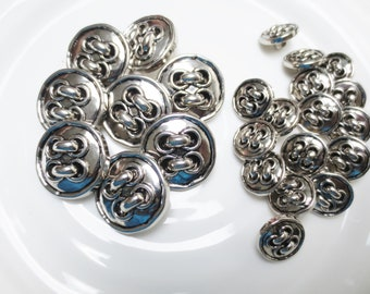 "Silver Shank Buttons Retro Lace Up Metallic 2 Sizes Set of 24 Pieces 1"" and 5/8"" Mix"
