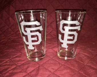 San Francisco Giants Hand Etched Pint Glasses!