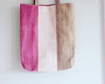 Gorgeous, Handmade Raspberry and Olive Stripe Tote Bag
