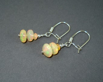 Opal Earrings with Sterling Silver Kidney Wires and Large Green Pink Fire Ethiopian Opals