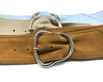 soft suede leather belt womens leather belt with silver buckle