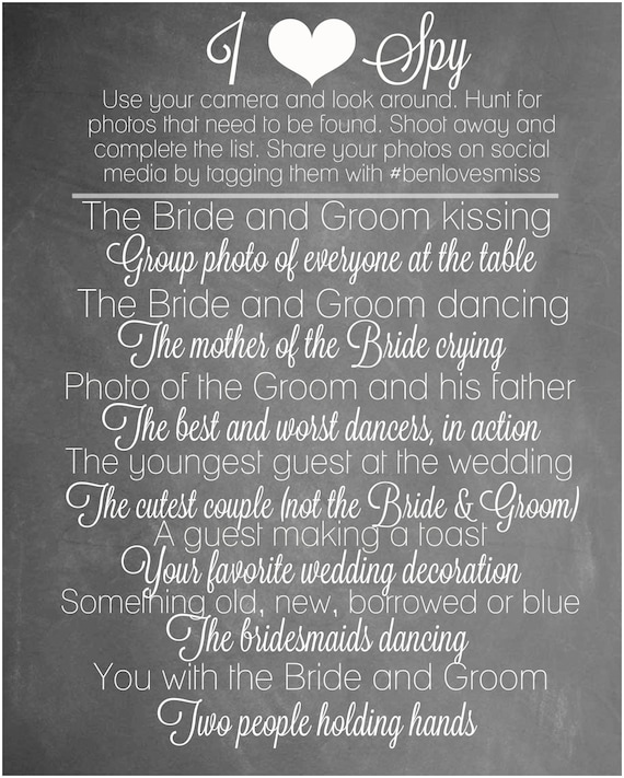 Wedding I Spy Game Chalkboard Wedding Decorations