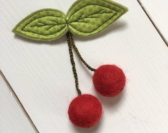 Handmade Felt & Fabric Cherry Brooch