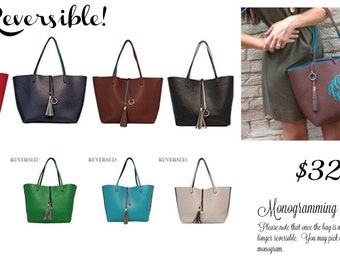 Monogrammed Tote, Reversible, Perfect Purse for Fall and Winter!!