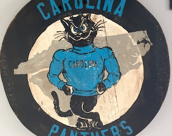 """Hand Painted """"Vintage"""" Carolina Panthers Plaque / Sign"""