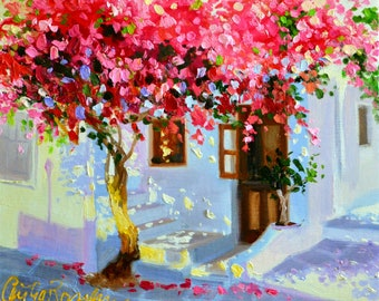 ART PRINT of MYKONOS, pink and blue, sunlit courtyard, Greece, Bougainvillea, French shutters