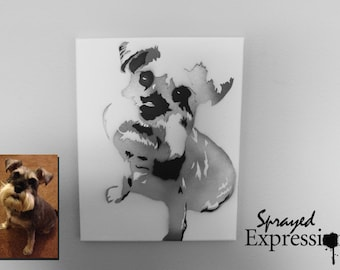 """Custom Pet Portrait Spray Painting, 11""""x14"""" Canvas - Made to Order"""